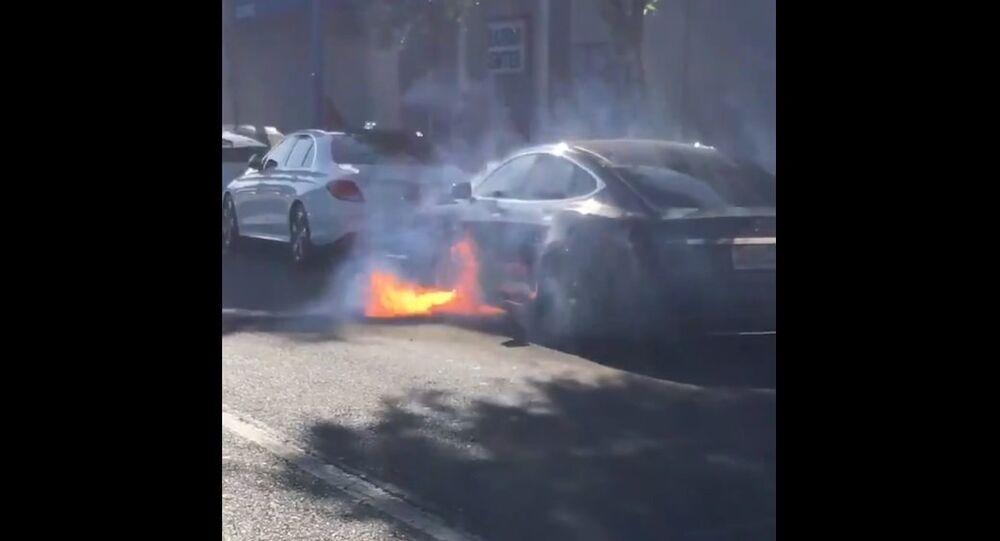 Burning Tesla car