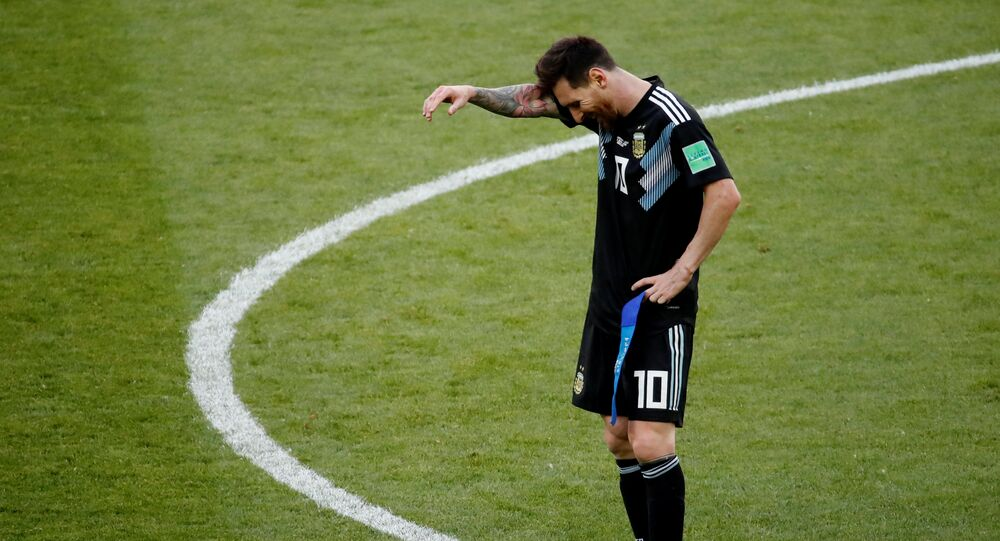 Soccer Football - World Cup - Group D - Argentina vs Iceland - Spartak Stadium, Moscow, Russia - June 16, 2018 Argentina's Lionel Messi reacts after the match