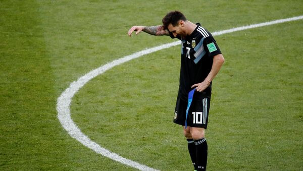 Soccer Football - World Cup - Group D - Argentina vs Iceland - Spartak Stadium, Moscow, Russia - June 16, 2018 Argentina's Lionel Messi reacts after the match - Sputnik International