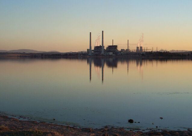 Lake Liddell with power stations