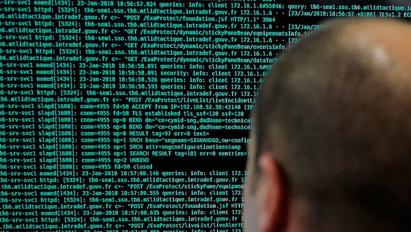 a French solider watches code lines on his computer at the French Defense ministry stand during an International Cybersecurity forum in Lille, northern France - Sputnik International
