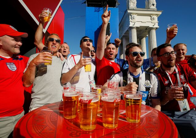 Soccer Football - FIFA World Cup - Group G - Tunisia v England - Volgograd, Russia - June 17, 2018 - England's fans gather at a Fan Fest zone