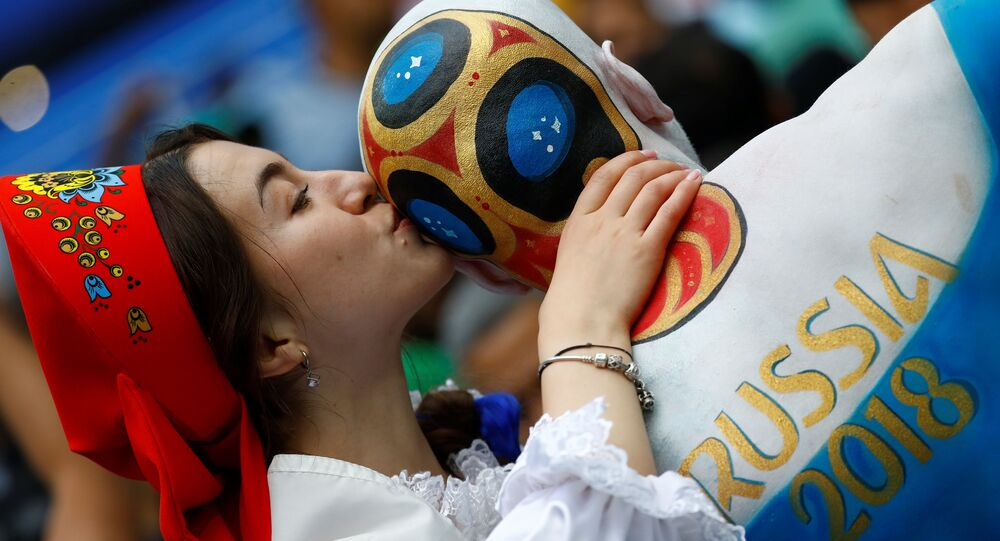 Soccer Football - World Cup - Group A - Russia vs Saudi Arabia - Luzhniki Stadium, Moscow, Russia - June 14, 2018 Russia fan with body paint before the match