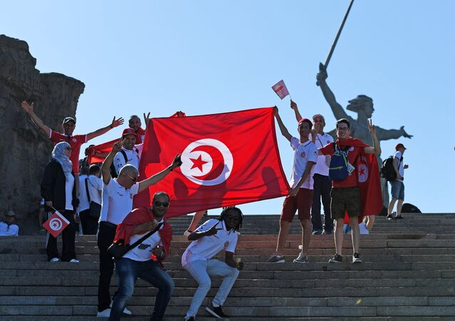 Fans before World Cup 2018 soccer match between the national teams of Tunisia and England