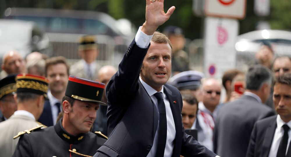 French President Emmanuel Macron attends a ceremony at the Mont Valerien memorial in Suresnes, near Paris