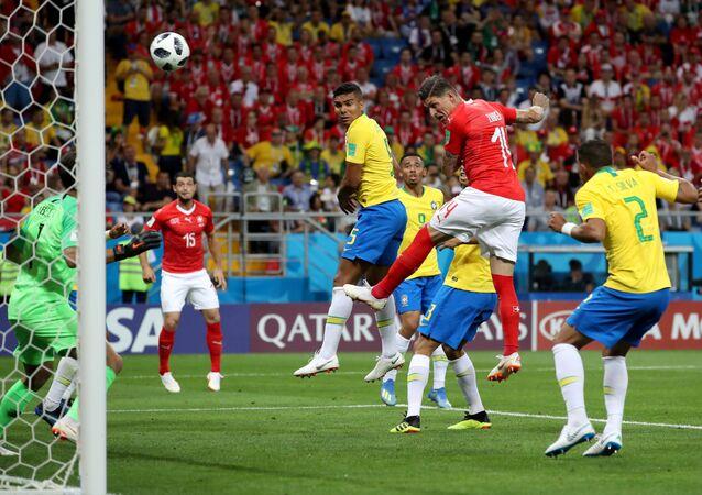 Soccer Football - World Cup - Group E - Brazil vs Switzerland - Rostov Arena, Rostov-on-Don, Russia - June 17, 2018 Switzerland's Steven Zuber scores their first goal