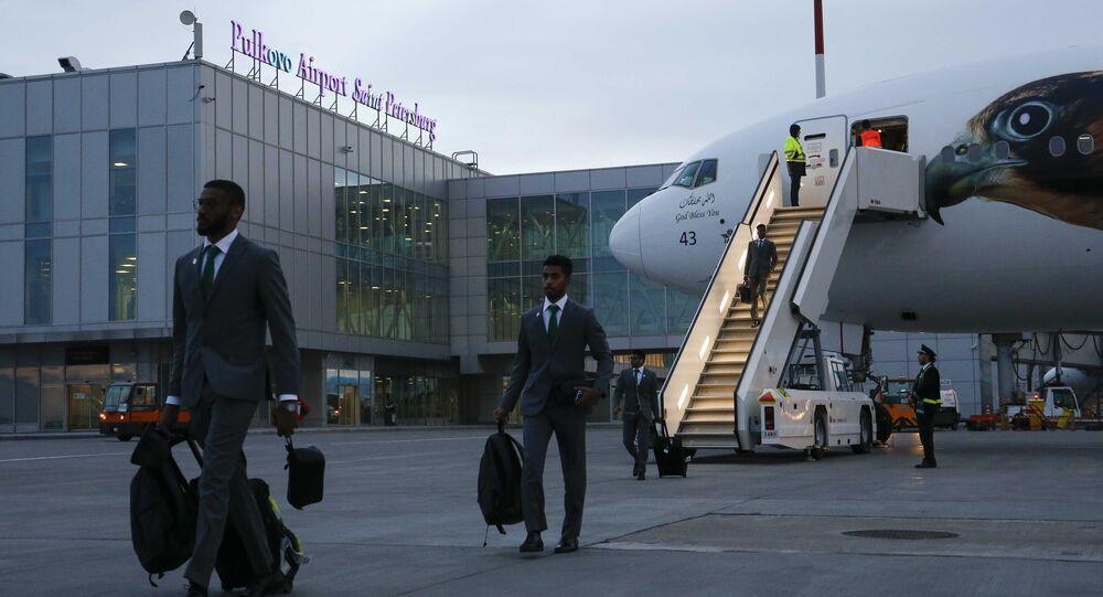 Soccer Football - FIFA World Cup - Saudi Arabia Arrival - Pulkovo Airport, Saint Petersburg, Russia - June 9, 2018