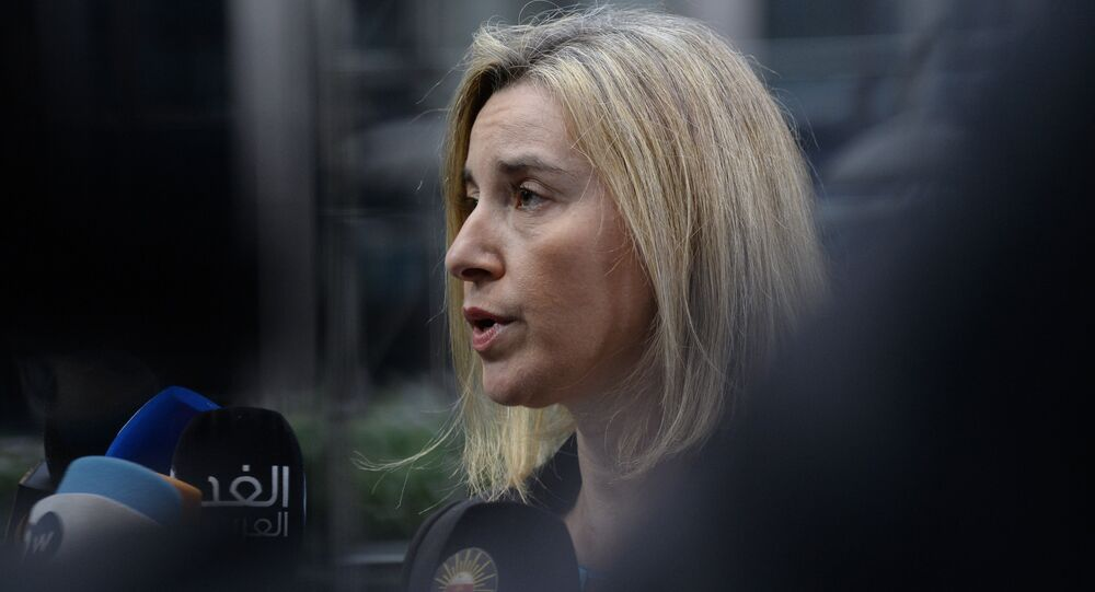 EU foreign policy chief Federica Mogherini speaks to the press