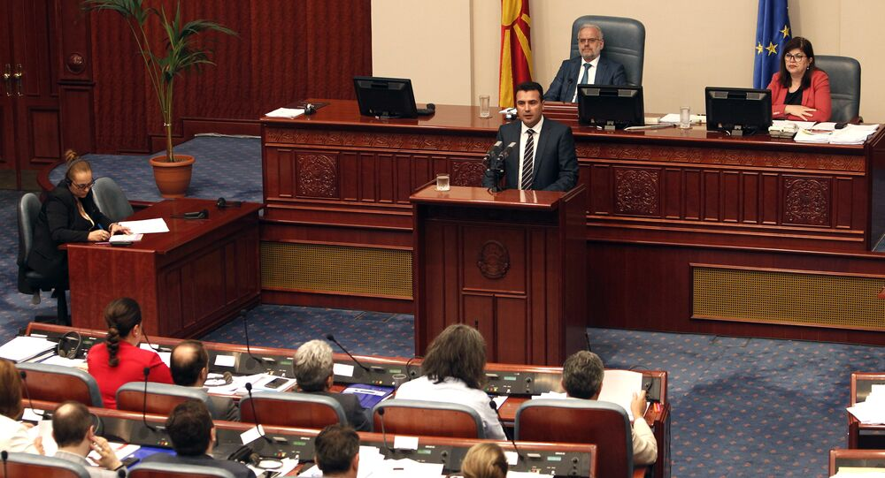 Macedonian Prime Minister Zoran Zeav speaks during a session for the ratification of the deal with Greece, in the parliament in Skopje, Macedonia, Wednesday, June 20, 2018