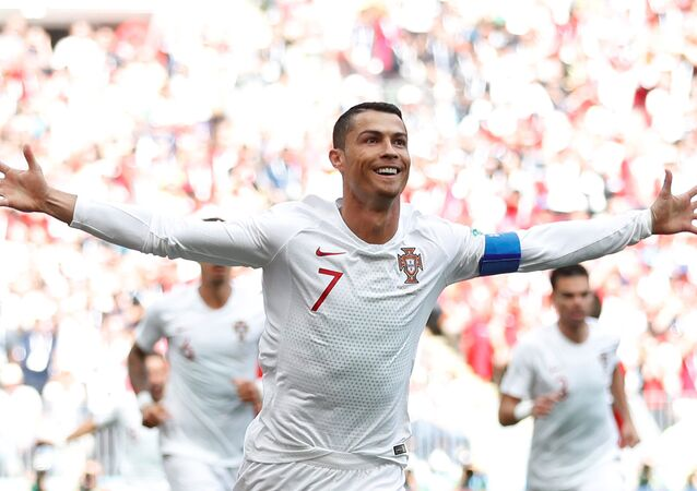 Soccer Football - World Cup - Group B - Portugal vs Morocco - Luzhniki Stadium, Moscow, Russia - June 20, 2018 Portugal's Cristiano Ronaldo celebrates scoring their first goal