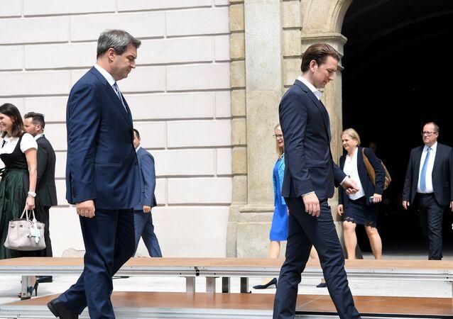 Bavaria's State Premier Markus Soeder (L) and Austrian Chancellor Sebastian Kurz