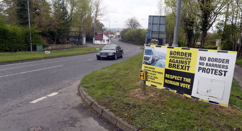 (File) In this photograph taken on April 26, 2017, Brexit posters are pictured at the border crossing at Muff in Co Donegal near Lough Foyle, on the border with Northern Ireland and Donegal in the Republic of Ireland