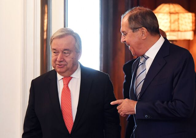 UN Secretary-General Antonio Guterres and Russian Foreign Minister Sergei Lavrov, right, meet at the Russian Foreign Ministry Reception House