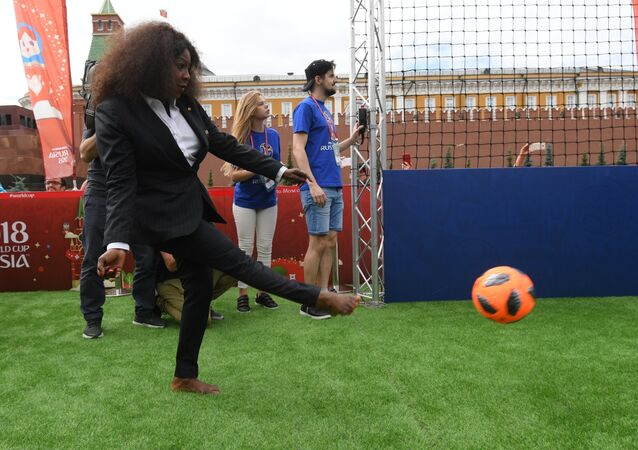 FIFA Secretary General Fatma Samoura at the Soccer Park, a festival travelling around Russian cities hosting this summer's World Cup, in Red Square, Moscow, Russia, June 21, 2018