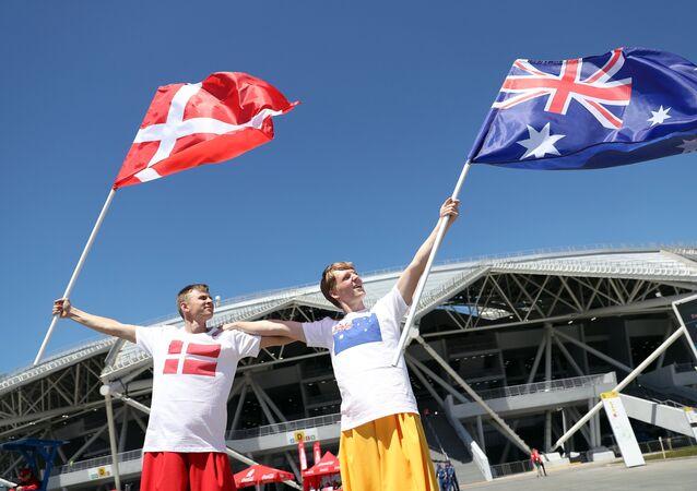 Fans Outside the Samara Arena Stadium Before the Denmark - Australia FIFA World Cup Match, 2018
