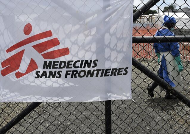 The entrance of the Ebola treatment centre of aid agency Doctors Without Borders, known by its French initials MSF (Medecins Sans Frontieres) on October 3, 2014 where NBC cameraman Ashoka Mukpo, 33, who has been infected with the Ebola virus is being treated