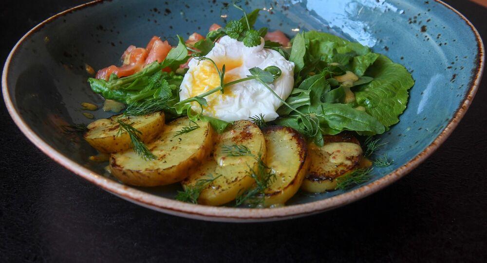 Bureau's Salmon, poached egg and potato salad