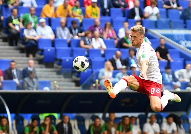 Soccer Football - World Cup - Group C - Denmark vs Australia - Samara Arena, Samara, Russia - June 21, 2018 Denmark's Nicolai Jorgensen in action