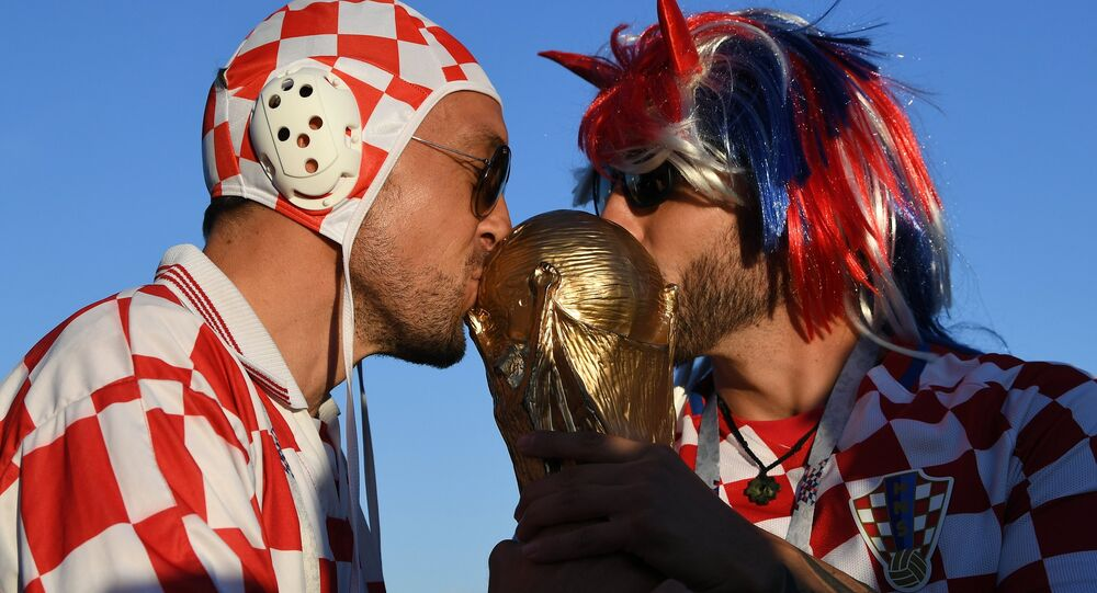 Croatian football fans ahead of the World Cup match against Argentina in Nizhny Novgorod, Russia, June 21