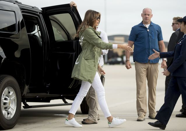 First lady Melania Trump arrives to board a plane at Andrews Air Force Base, Md., Thursday, June 21, 2018, to travel to Texas to visit the U.S.-Mexico border.