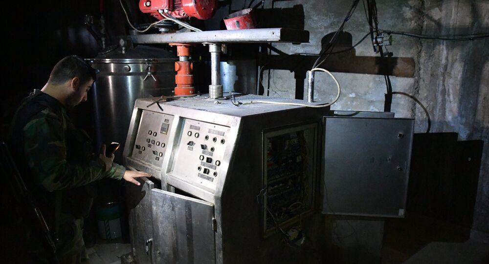A militants' chemical laboratory for the production of toxic agents and explosives in the basement of a residential building in the liberated Syrian town of Douma near Damascus