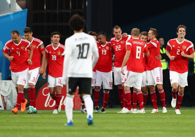 Russian National Football Team During Match With Egypt. 2018 FIFA World Cup