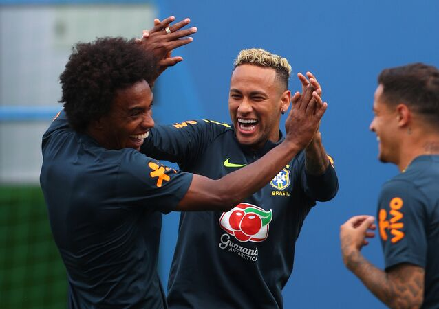 Soccer Football - World Cup - Brazil Training - Brazil Training Camp, Sochi, Russia - June 19, 2018 Brazil's Willian and Neymar during training