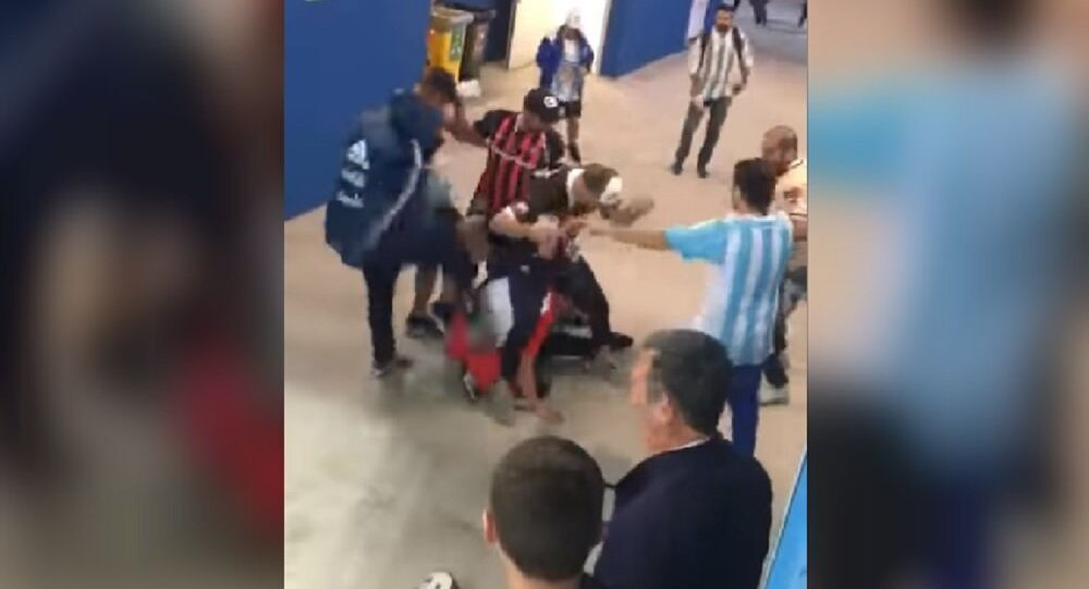 Argentina's fans beat Croatia fan