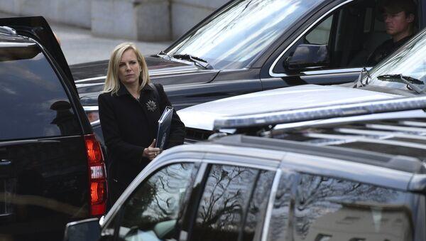 Homeland Security Secretary Kirstjen Nielsen leaves the West Wing of the White House in Washington, Wednesday, April 11, 2018. - Sputnik International