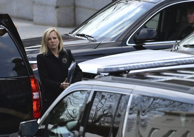 Homeland Security Secretary Kirstjen Nielsen leaves the West Wing of the White House in Washington, Wednesday, April 11, 2018.