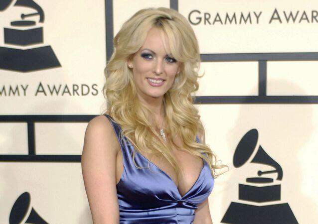 In this Feb. 10, 2008 file photo, adult film star Stormy Daniels arrives at the 50th Annual Grammy Awards in Los Angeles