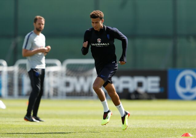 Soccer Football - World Cup - England Training - England Training Camp, Saint Petersburg, Russia - June 23, 2018. England's Dele Alli during training
