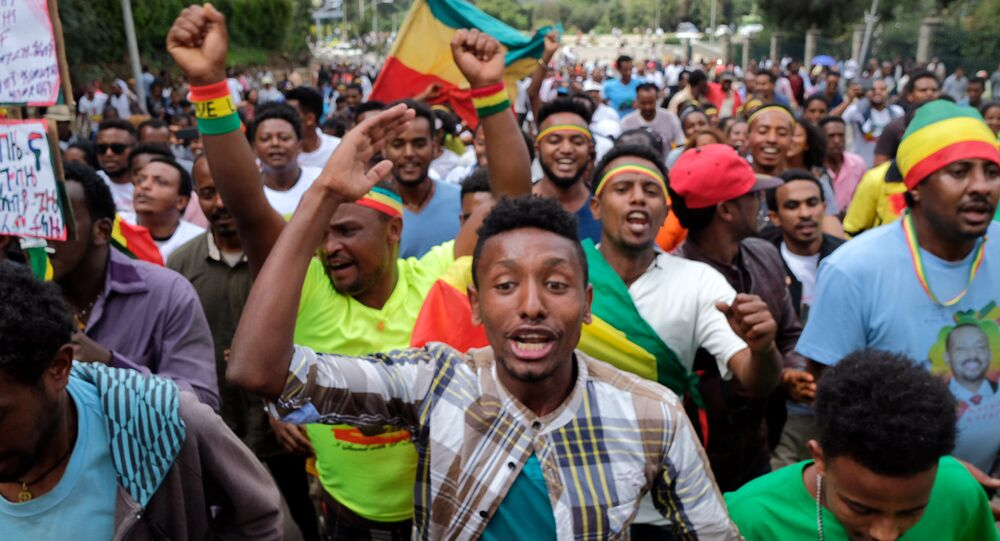 Ethiopians chant slogans during a rally in support of the new Prime Minister Abiy Ahmed in Addis Ababa, Ethiopia June 23, 2018
