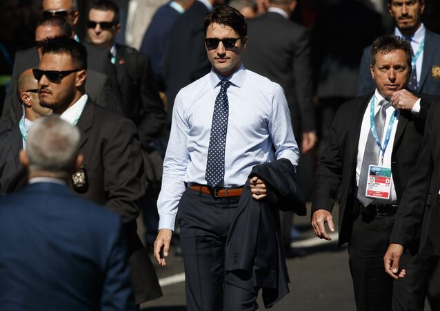 Canadian Prime Minister Justin Trudeau arrives at the Hotel San Domenico for a working session with outreach countries and international organizations, on the second day of the G7 summit of Heads of State and of Government, on May 27, 2017 in Taormina, Sicily