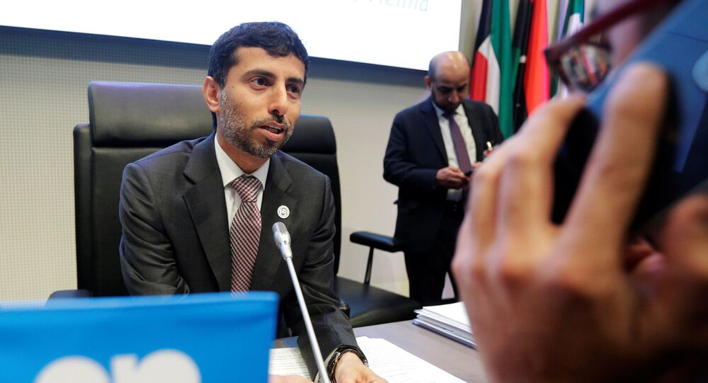 UAE's Energy Minister Al Mazrouei talks to journalists at the beginning of an OPEC meeting in Vienna, Austria, June 22, 2018