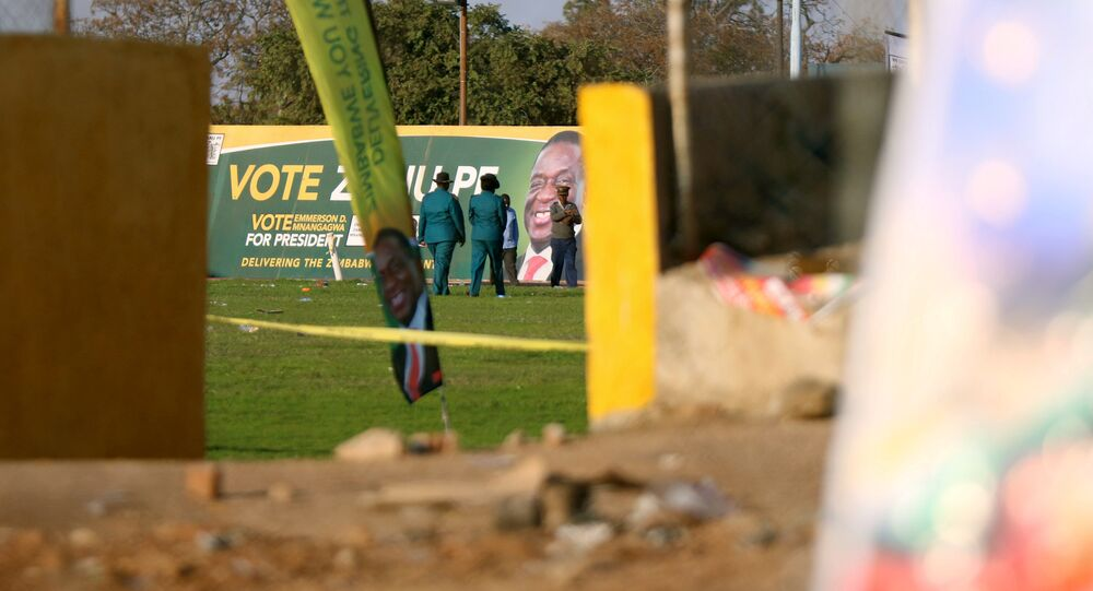 Police officers are seen at the White City Stadium, where Zimbabwe President Emmerson Mnangagwa escaped unhurt after an explosion rocked the stadium, in Bulawayo, Zimbabwe, June 23,2018