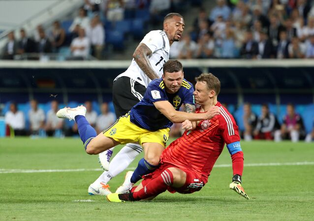 June 23, 2018 Sweden's Marcus Berg in action with Germany's Manuel Neuer and Jerome Boateng