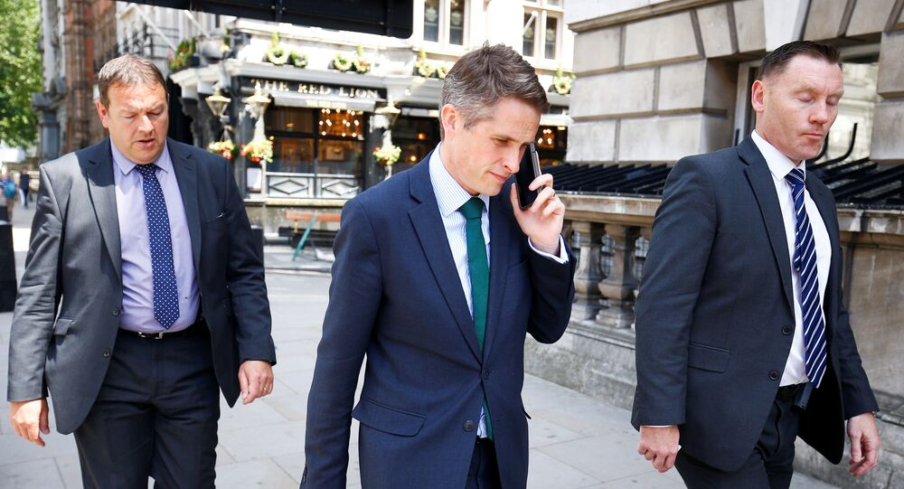 Britain's Secretary of State for Defence Gavin Williamson walks down Whitehall in Westminster, London, June 6, 2018
