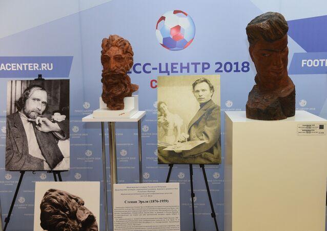 Экспозиция Мини-музей С.Д. Эрьзи в городском пресс-центре чемпионата мира по футболу FIFA 2018 в Саранске