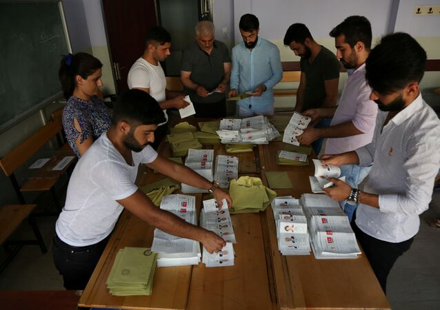 Ballots of Turkey's presidential and parliamentary elections are being counted at a polling station in Diyarbakir, Turkey June 24, 2018