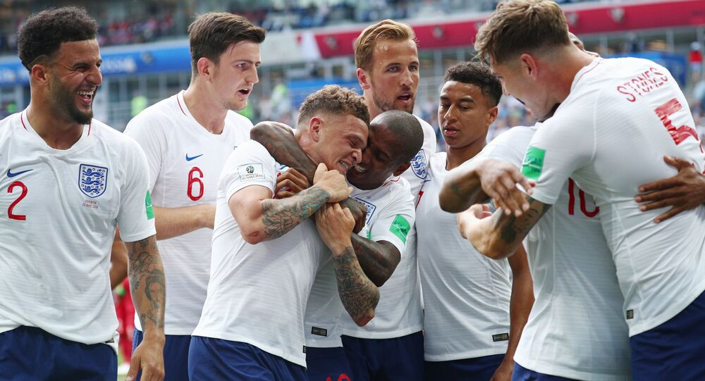Players of English national team rejoice to the scored goal in a match of a group stage of the FIFA World Cup between English national teams and Panama