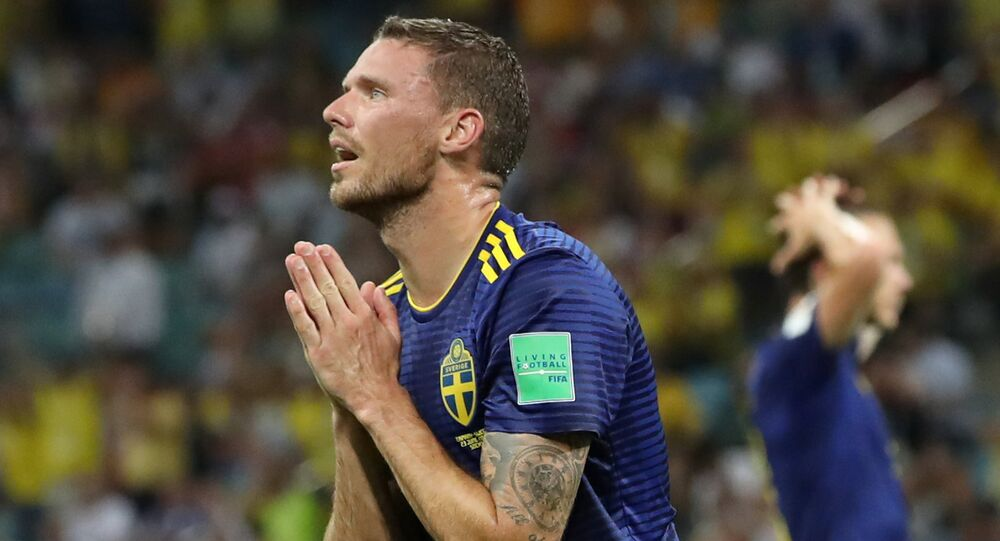 Soccer Football - World Cup - Group F - Germany vs Sweden - Fisht Stadium, Sochi, Russia - June 23, 2018 Sweden's Marcus Berg reacts