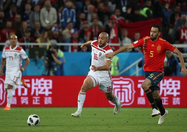 The FIFA World Cup Group B match between 2010 World Cup champion Spain and Morocco is taking place at the Kaliningrad Stadium.