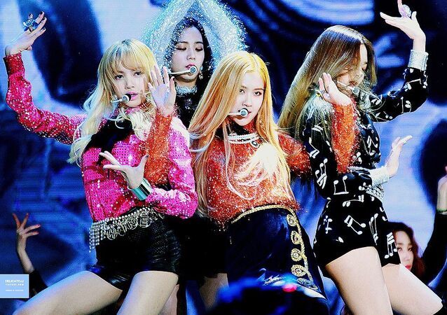 BLACKPINK performing Playing with Fire at the 31st Golden Disc Awards on January 13, 2017