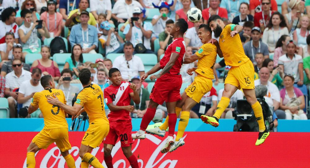 Soccer Football - World Cup - Group C - Australia vs Peru - Fisht Stadium, Sochi, Russia - June 26, 2018 Australia's Mile Jedinak misses a chance to score