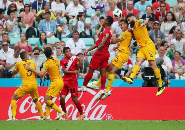 Soccer Football - World Cup - Group C - Australia vs Peru - Fisht Stadium, Sochi, Russia - June 26, 2018 Australia's Mile Jedinak misses a chance to score