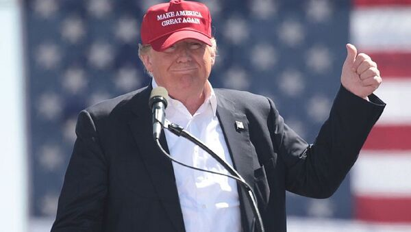 US President Donald Trump, then candidate Donald Trump, wears a Make America Great Again hat  at a rally in Arizona. - Sputnik International