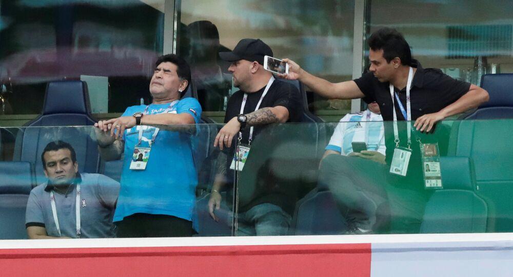 Soccer Football - World Cup - Group D - Nigeria vs Argentina - Saint Petersburg Stadium, Saint Petersburg, Russia - June 26, 2018 Diego Maradona during the match