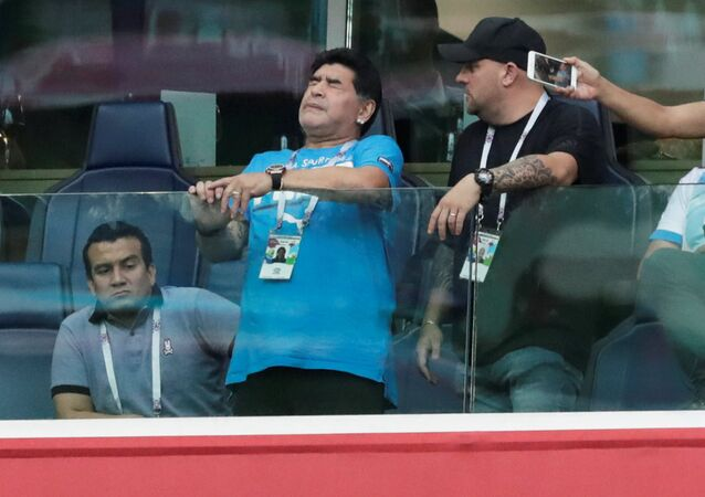 Soccer Football - World Cup - Group D - Nigeria vs Argentina - Saint Petersburg Stadium, Saint Petersburg, Russia - June 26, 2018 Diego Maradona during the match