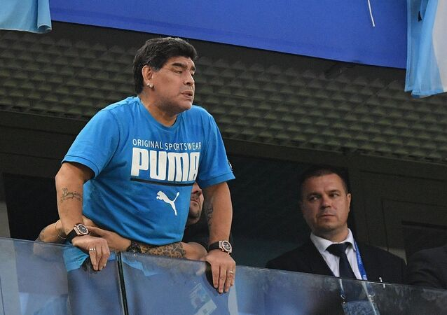 FILE PHOTO: Soccer Football - World Cup - Group D - Nigeria vs Argentina - Saint Petersburg Stadium, Saint Petersburg, Russia - June 26, 2018 Diego Maradona in the stands